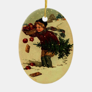 Antique Christmas Illustration Ornament Ceramic Oval Ornament