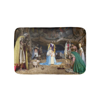 Antique Christmas Nativity Scene Bath Mat