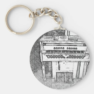 Antique Church Organ Music Basic Round Button Key Ring