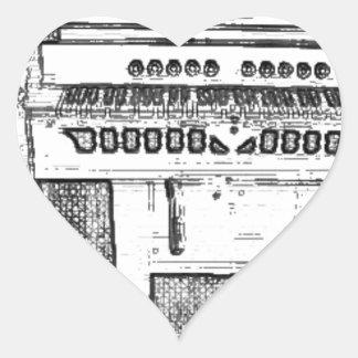 Antique Church Organ Music Heart Sticker