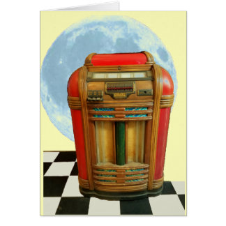 Antique Classic Jukebox with Blue Full Moon Card