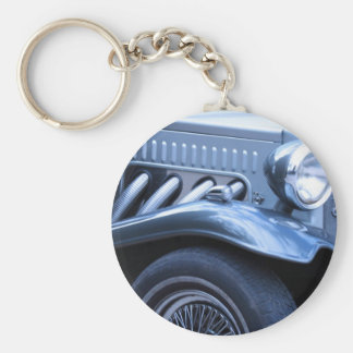 Antique Classic Vintage Car Chrome and Lights Basic Round Button Key Ring