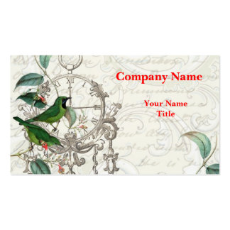 Antique Clock and Birds Business Card