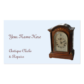 Antique clock blue business card