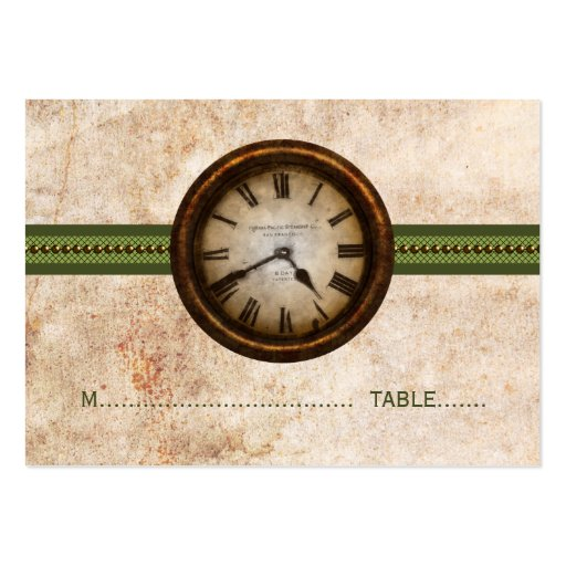 Antique Clock Place Card, Green Business Card Template