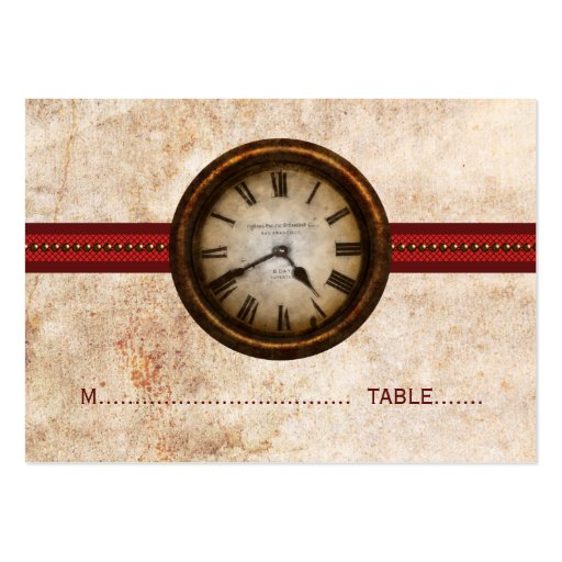 Antique Clock Place Card, Red Business Card