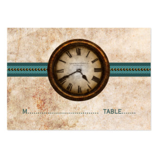 Antique Clock Place Card, Teal Pack Of Chubby Business Cards