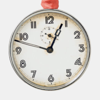 Antique Clock Silver-Colored Round Decoration