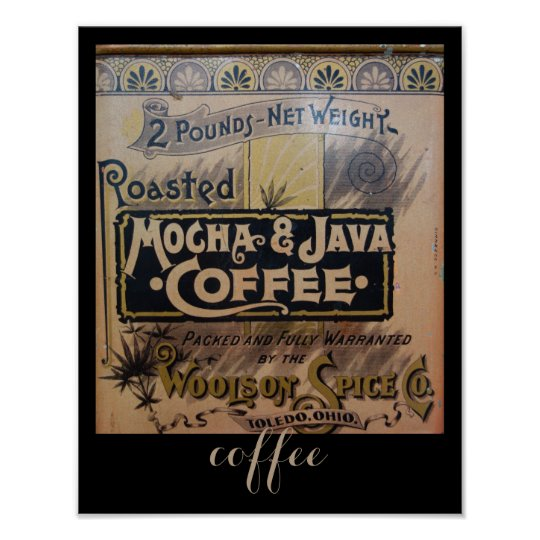 antique coffee  tin poster in brown
