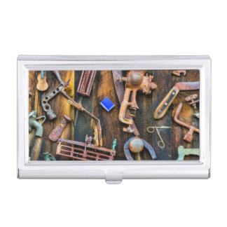 Antique collection on wall business card holder