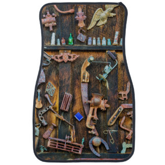 Antique collection on wall car mat