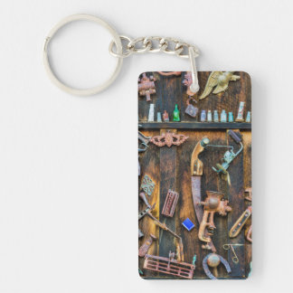 Antique collection on wall key ring