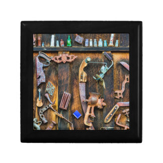 Antique collection on wall small square gift box