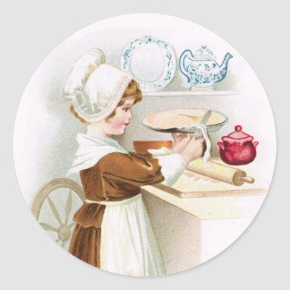 Antique Colonial Sweetheart Making a Pie Sticker