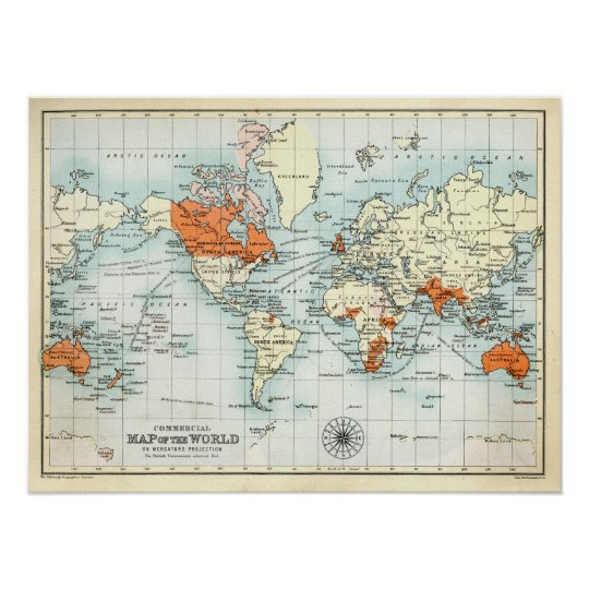 Antique Commercial Map of the World Poster