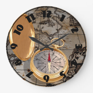 Antique Compass On A Map Clock