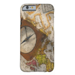 Antique compass on map barely there iPhone 6 case