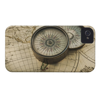 Antique compass on map Case-Mate iPhone 4 cases