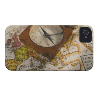 Antique compass on map iPhone 4 case