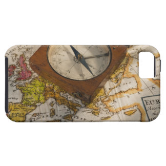 Antique compass on map iPhone 5 cases