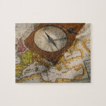 Antique compass on map jigsaw puzzle