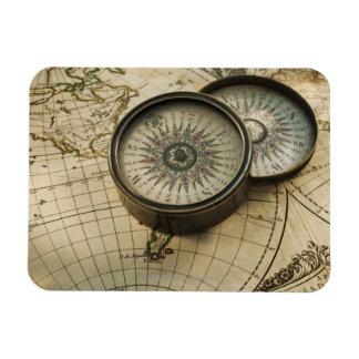 Antique compass on map rectangular photo magnet