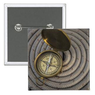 Antique Compass On Sailboat Deck 15 Cm Square Badge