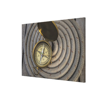 Antique Compass On Sailboat Deck Canvas Print