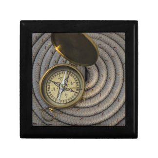Antique Compass On Sailboat Deck Small Square Gift Box