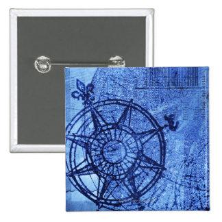 Antique compass rose 15 cm square badge