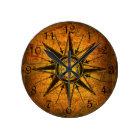 Antique Compass Rose Round Clock