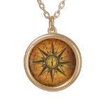 Antique Compass Rose Round Pendant Necklace