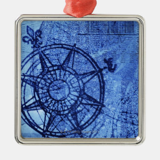 Antique compass rose Silver-Colored square decoration