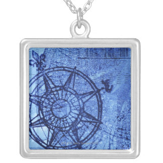 Antique compass rose silver plated necklace