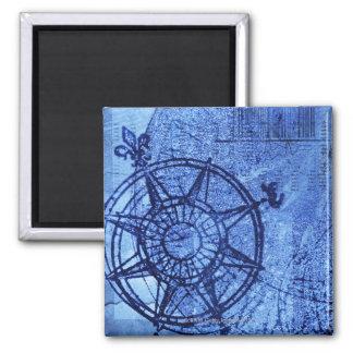 Antique compass rose square magnet