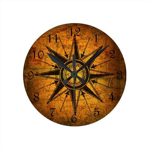 antique compass rose wallclocks zazzle