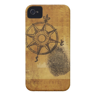 Antique compass rose with fingerprint iPhone 4 cover
