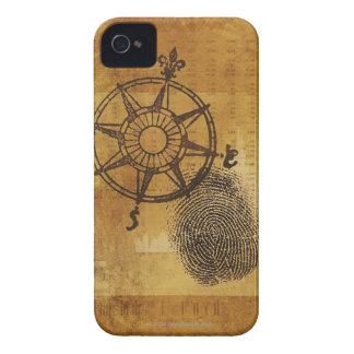 Antique compass rose with fingerprint iPhone 4 covers