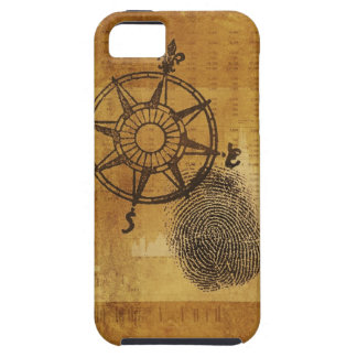 Antique compass rose with fingerprint iPhone 5 case