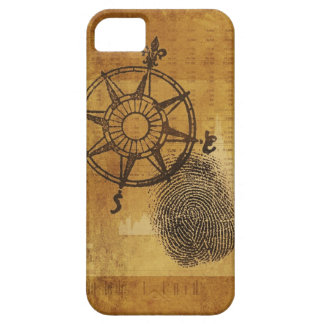 Antique compass rose with fingerprint iPhone 5 covers