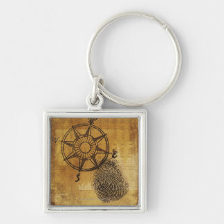 Antique compass rose with fingerprint key ring