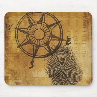 Antique compass rose with fingerprint mouse mat