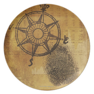 Antique compass rose with fingerprint plate