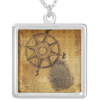 Antique compass rose with fingerprint silver plated necklace