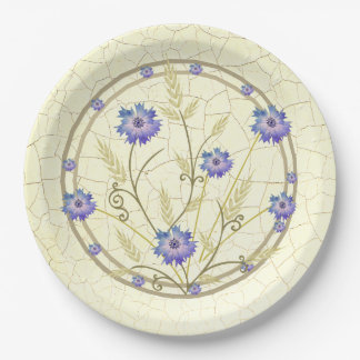 Antique Crackle-finish Cornflower and Wheat Paper Plate
