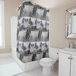 Antique cyclists shower curtain