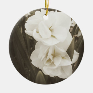 Antique Daffodil Double-Sided Ceramic Round Christmas Ornament
