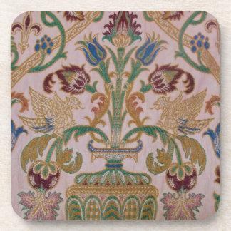 Antique Damask Fabric Beverage Coaster