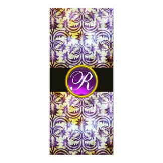 ANTIQUE DAMASK MONOGRAM,black purple, white 10 Cm X 24 Cm Invitation Card