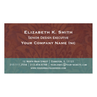 Antique Damask Renaissance Flower Brown and Teal Business Card Templates